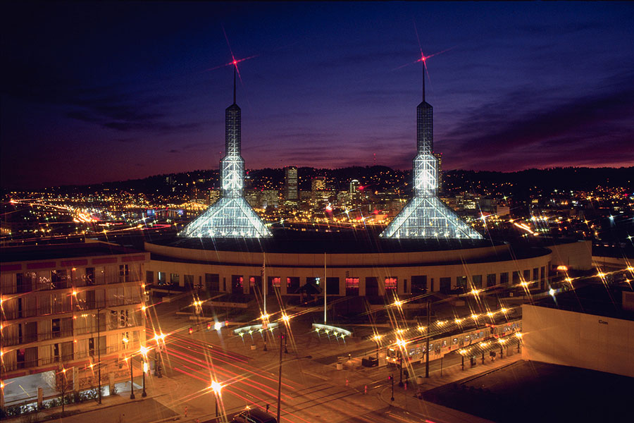 Oregon Convention Center at night
