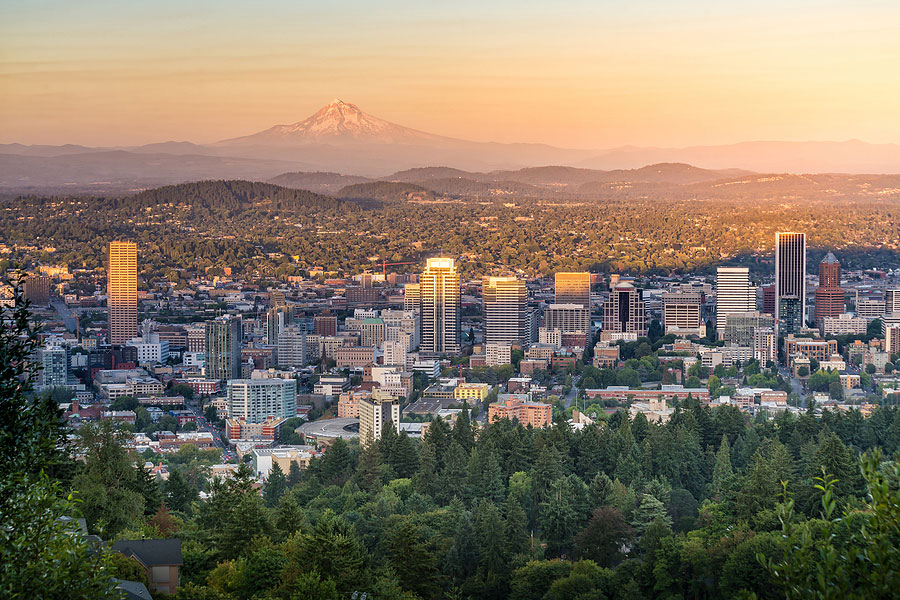 Downtown Portland, Oregon at sunset from Pittock Mansion