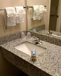 bathroom with COVID cleaner